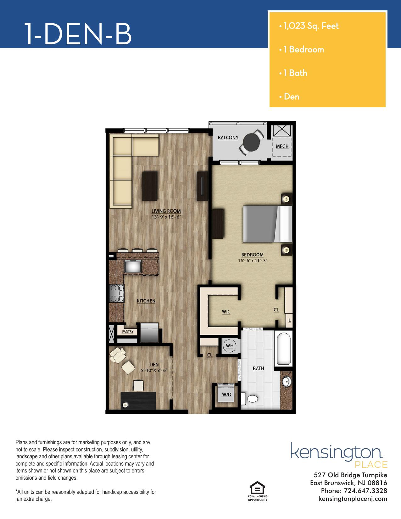 Kensington Place Apartment Floor Plan 1 DEN B