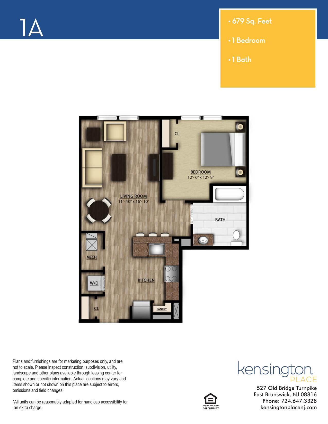Kensington Place Apartment Floor Plan 1A