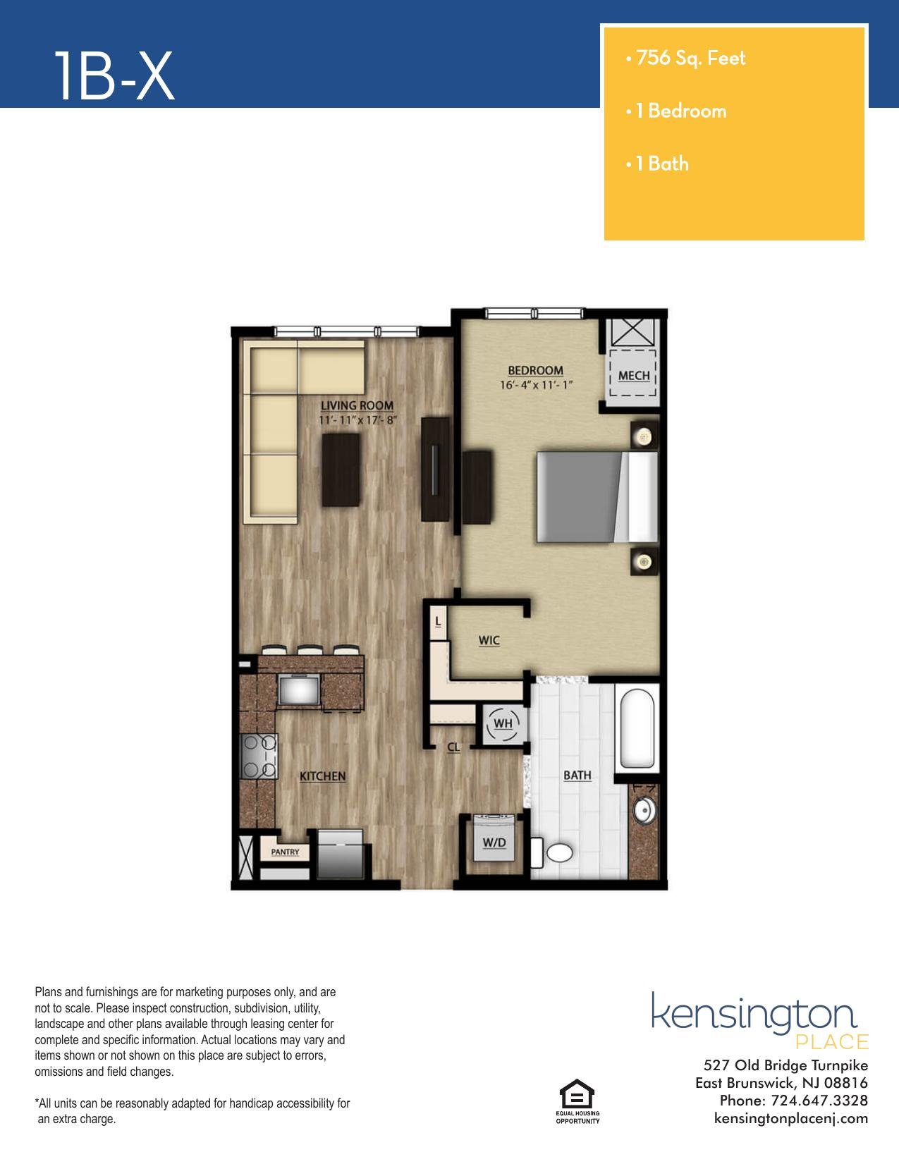 Kensington Place Apartment Floor Plan 1BX