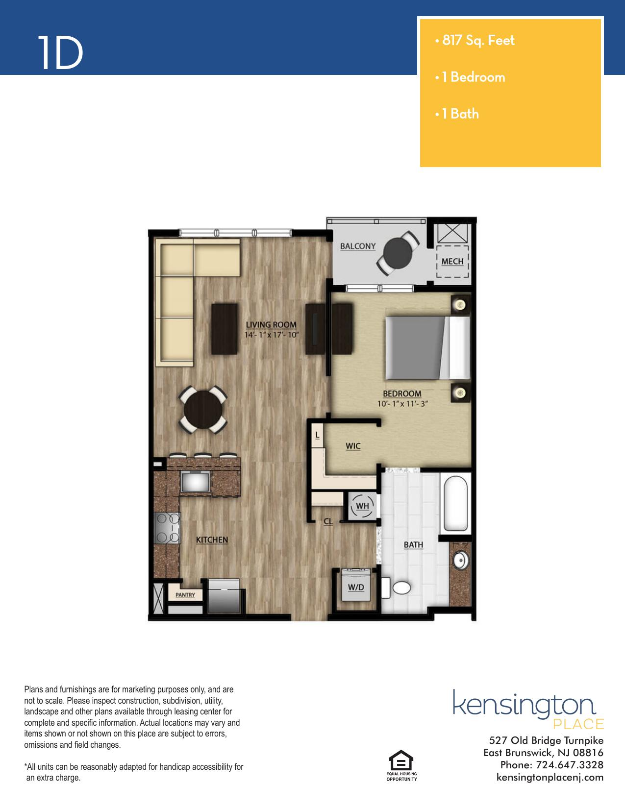 Kensington Place Apartment Floor Plan 1D