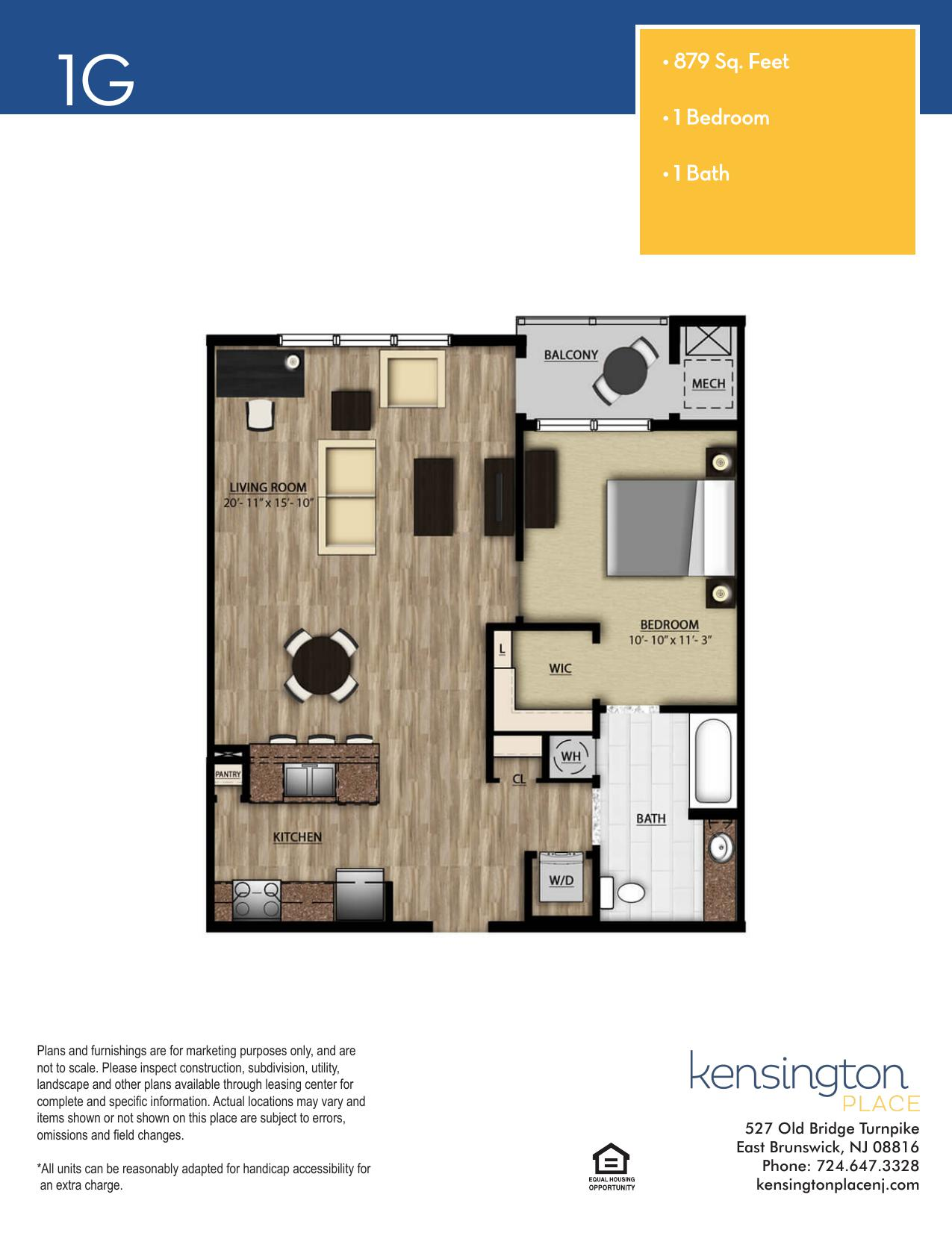 Kensington Place Apartment Floor Plan 1G