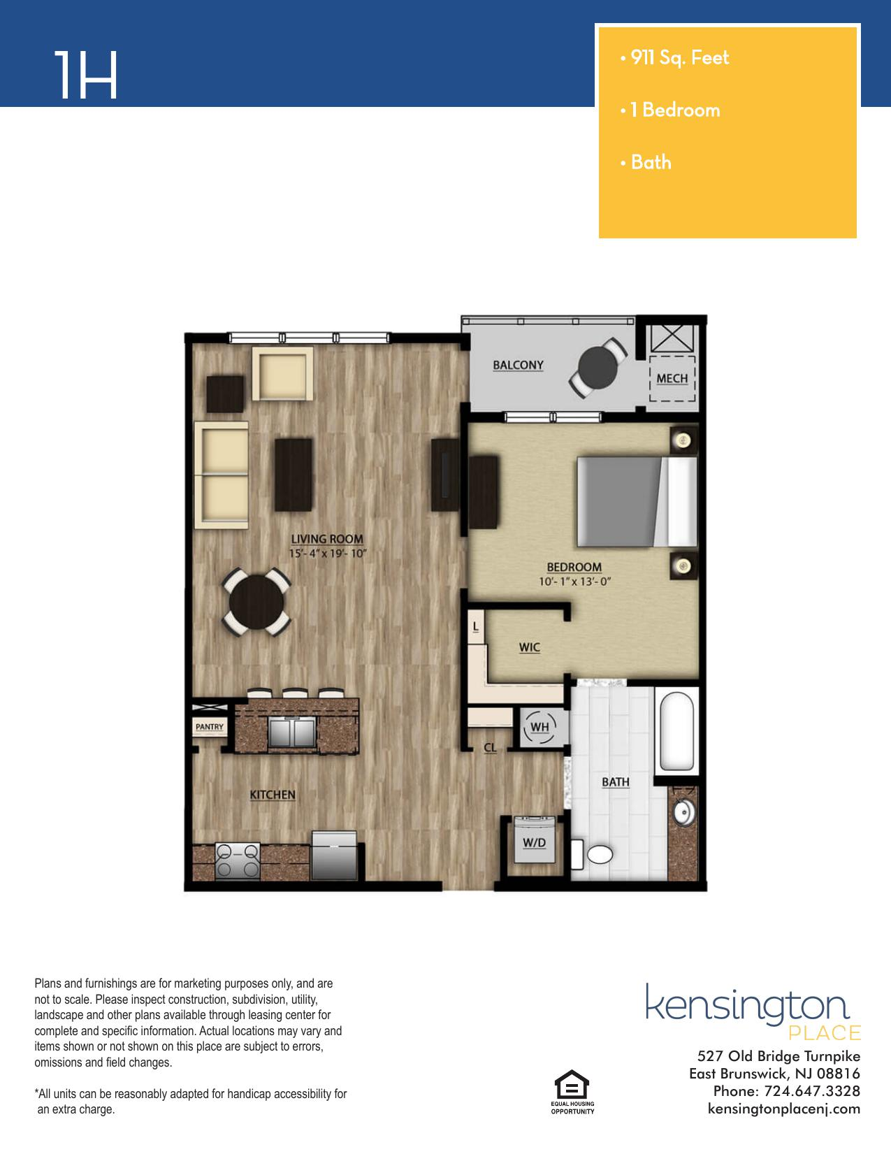 Kensington Place Apartment Floor Plan 1H