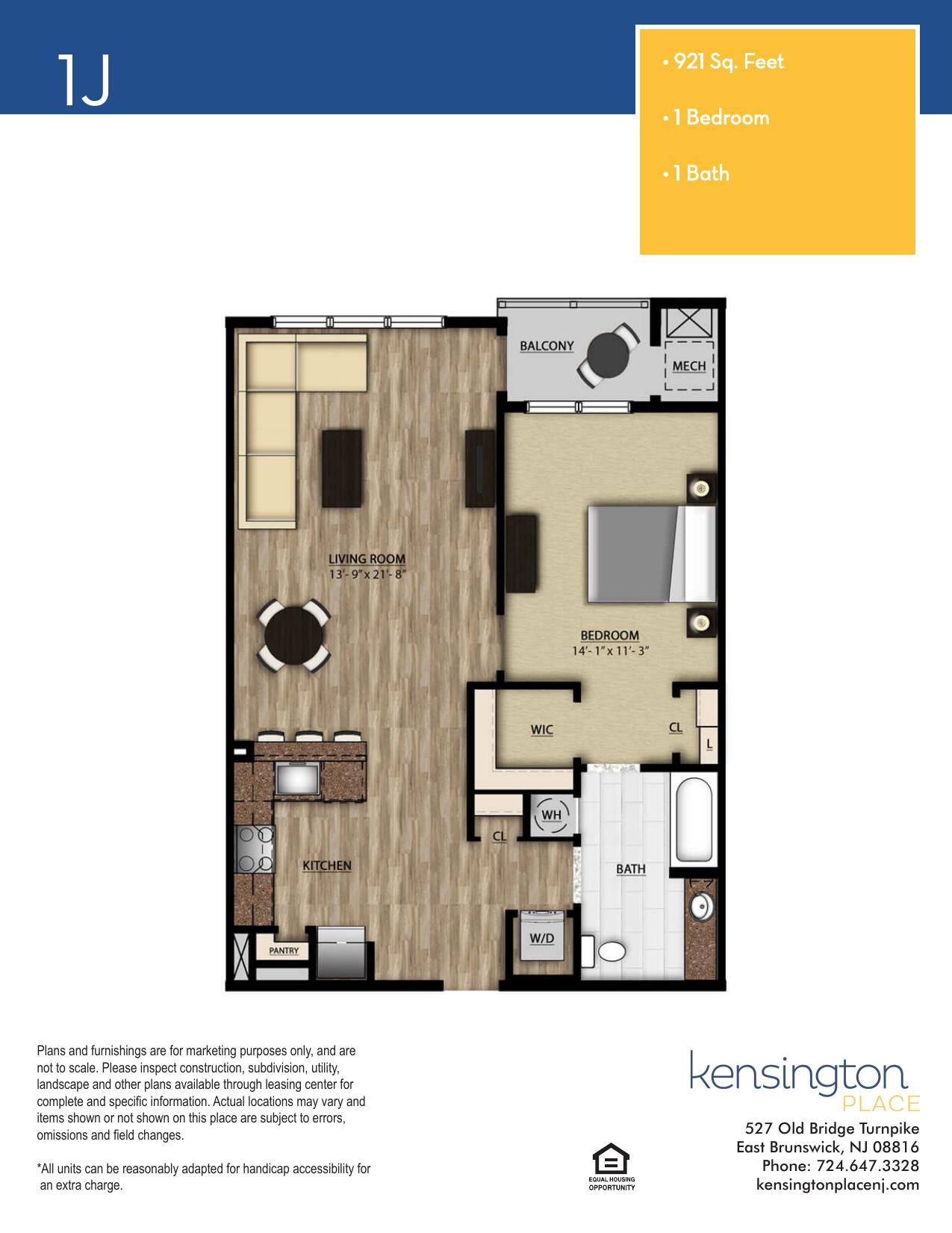 Kensington Place Apartment Floor Plan 1J