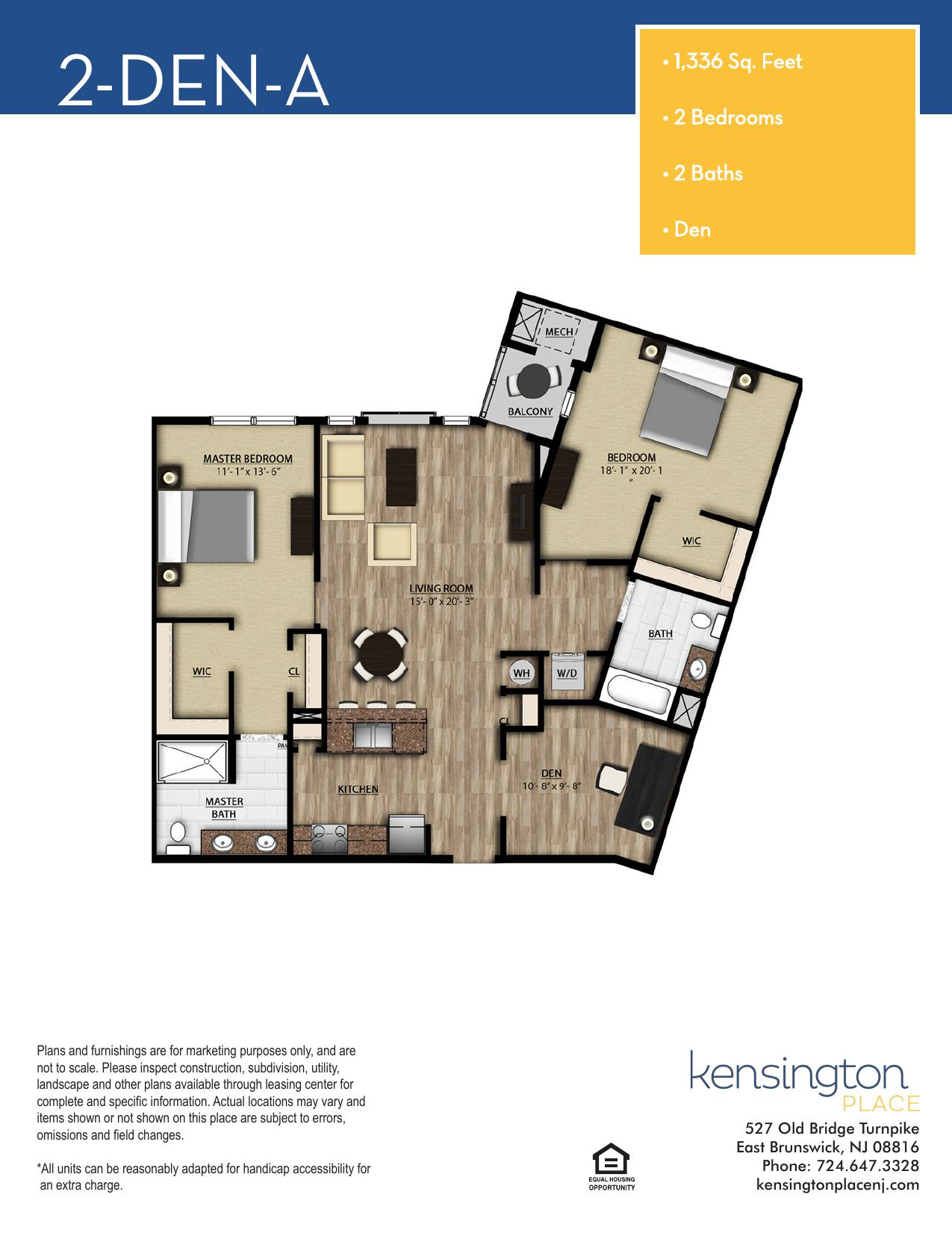 Kensington Place Apartment Floor Plan 2 DEN A