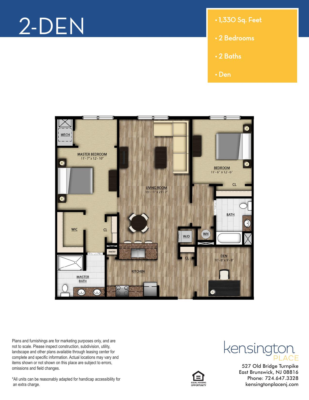 Kensington Place Apartment Floor Plan 2 DEN