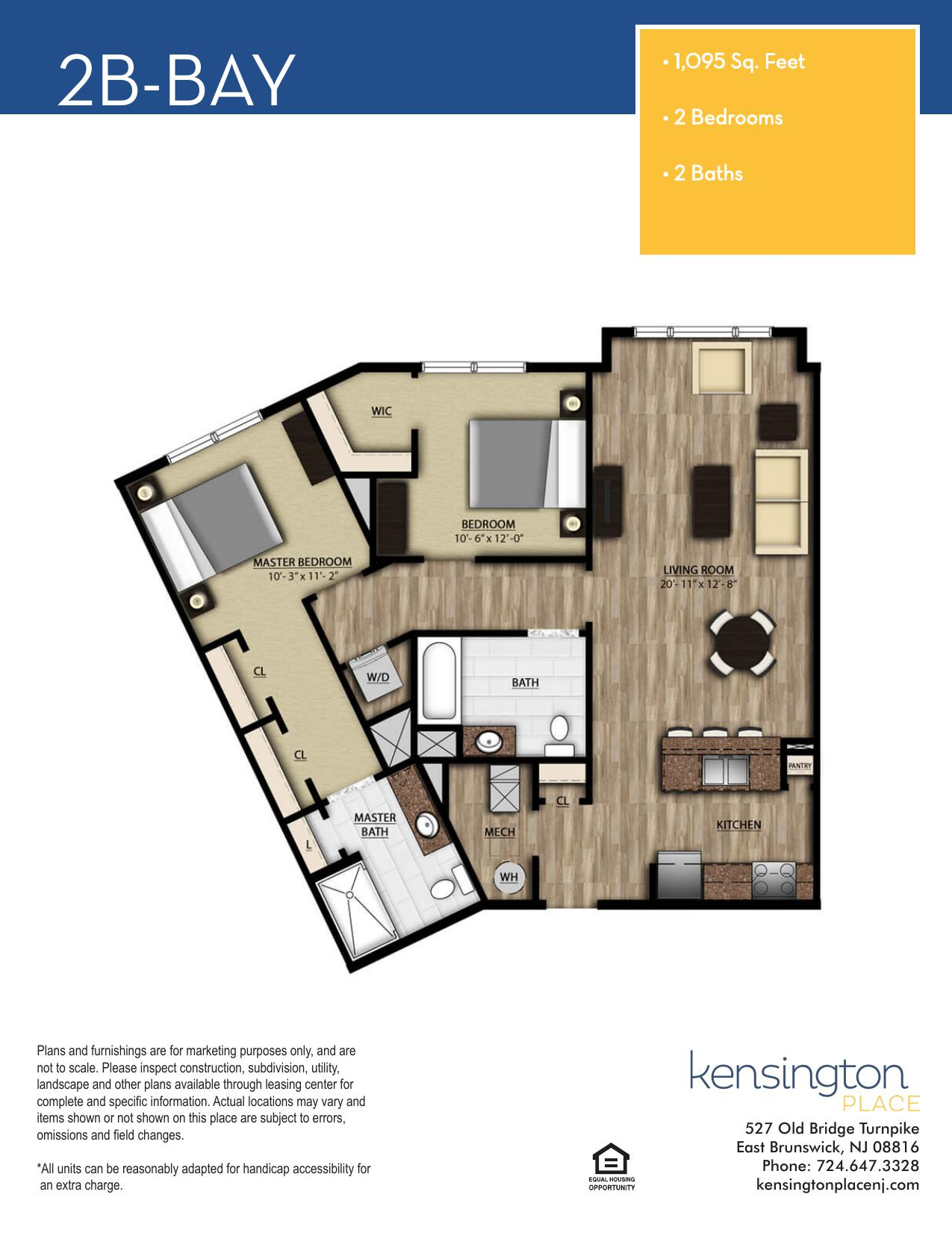 Kensington Place Apartment Floor Plan 2B BAY