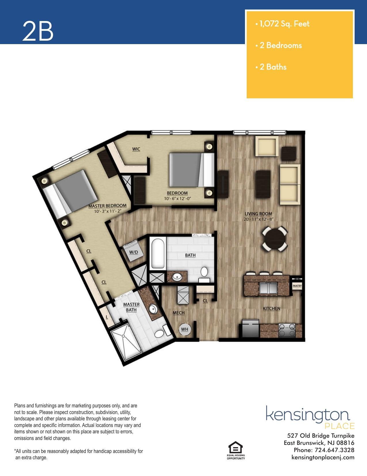 Kensington Place Apartment Floor Plan 2B
