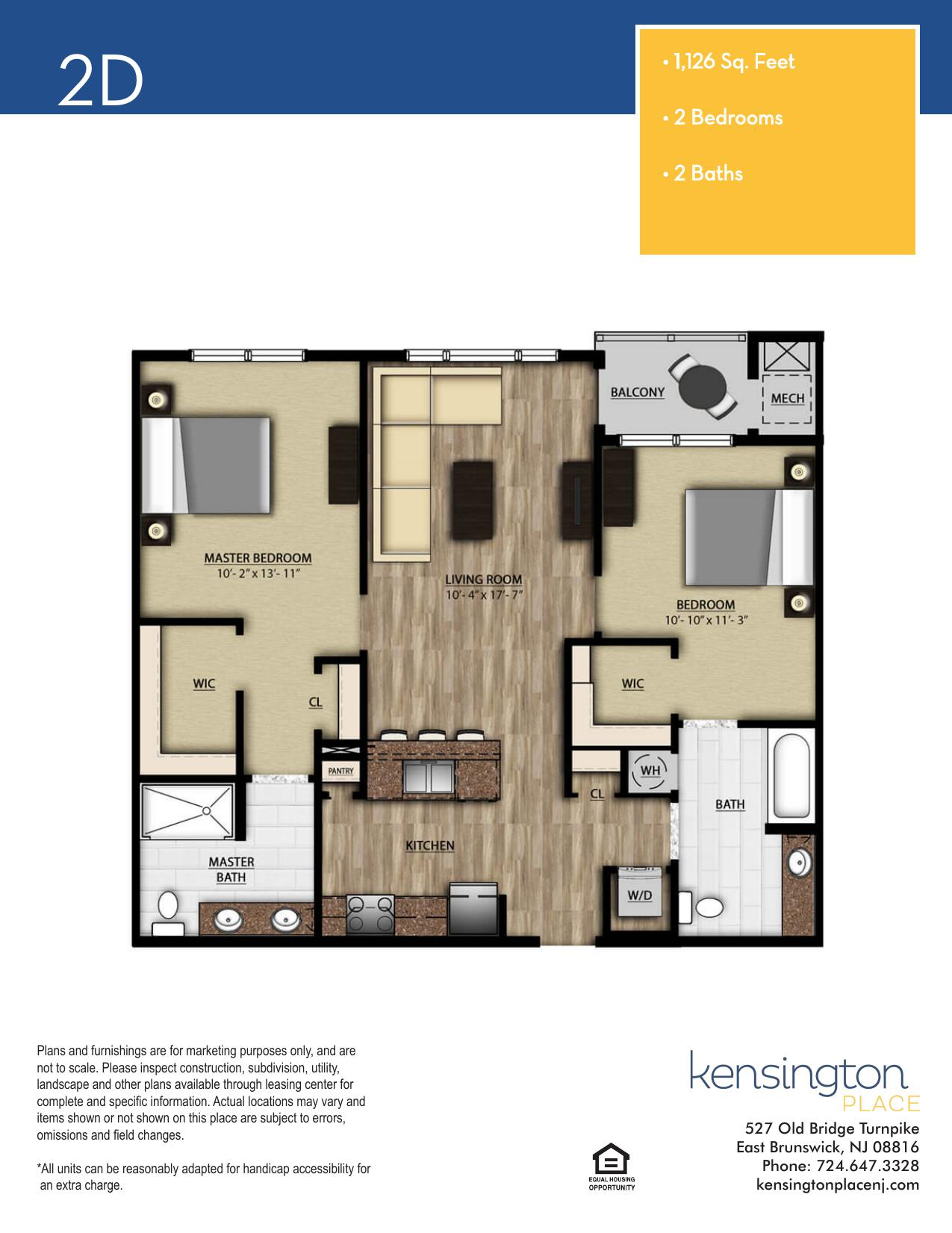 Kensington Place Apartment Floor Plan 2D