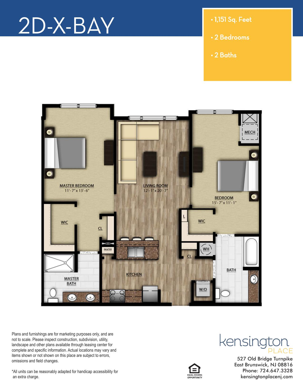 Kensington Place Apartment Floor Plan 2DX BAY