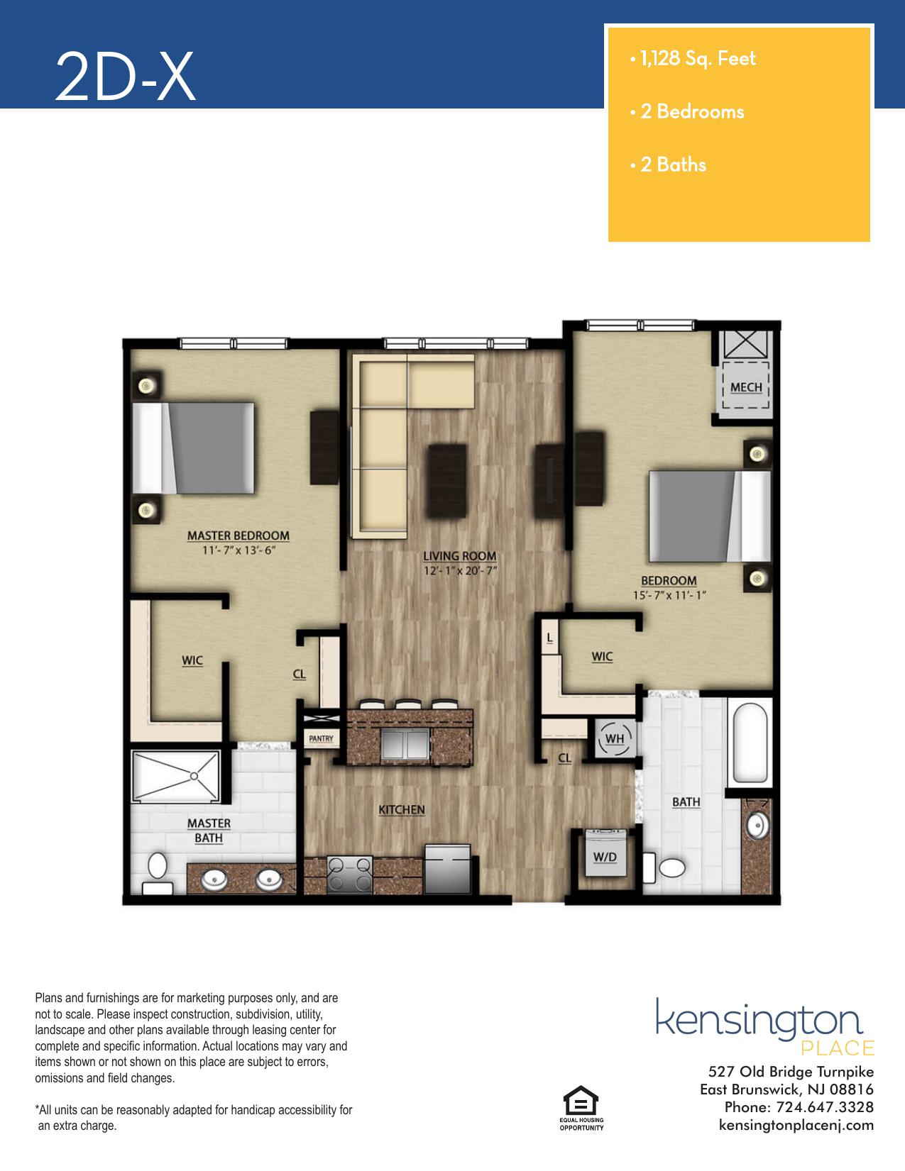 Kensington Place Apartment Floor Plan 2DX