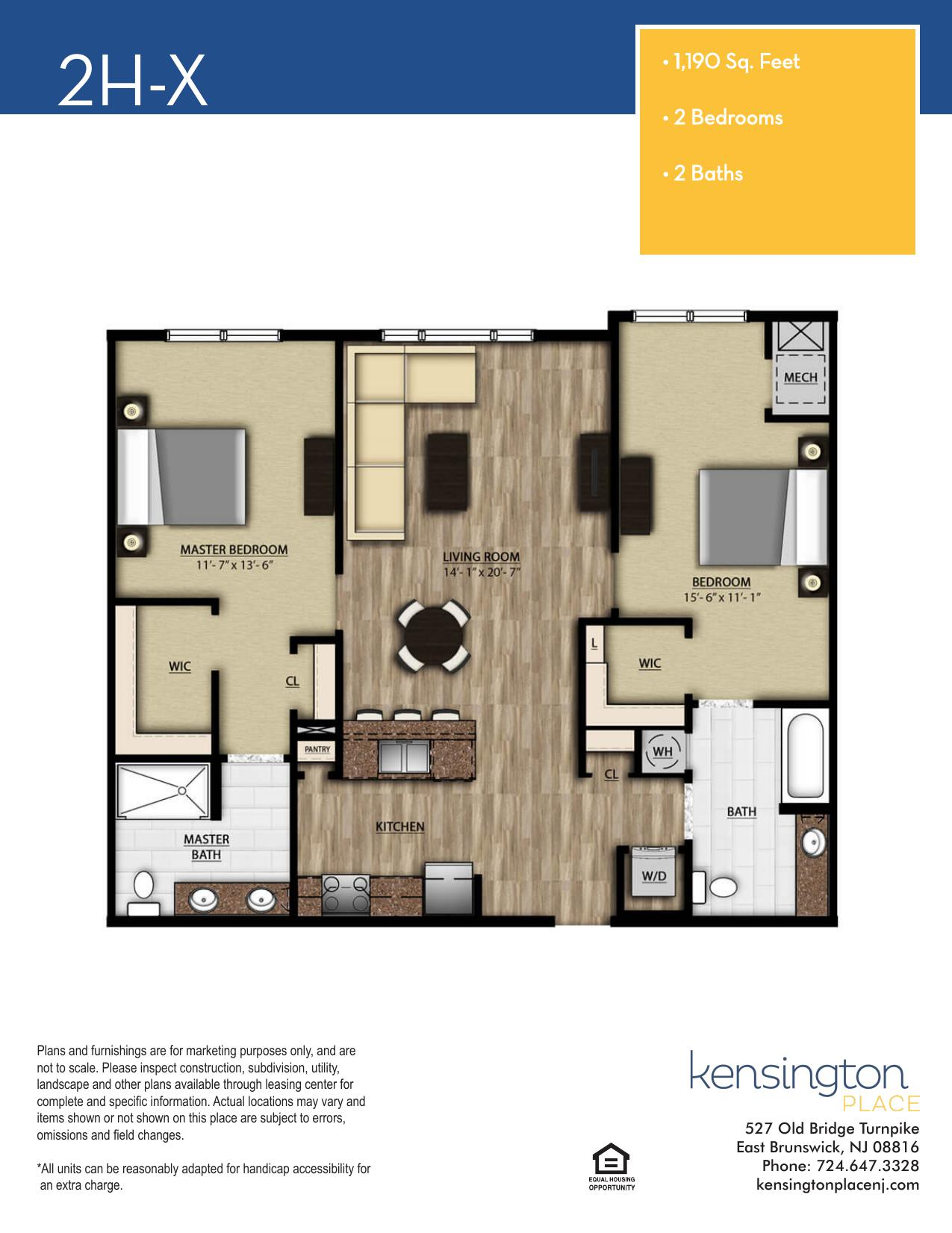 Kensington Place Apartment Floor Plan 2HX