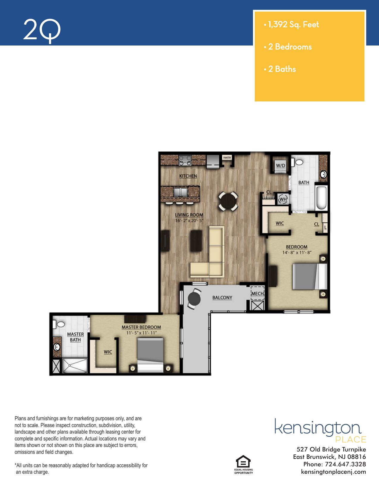 Kensington Place Apartment Floor Plan 2Q