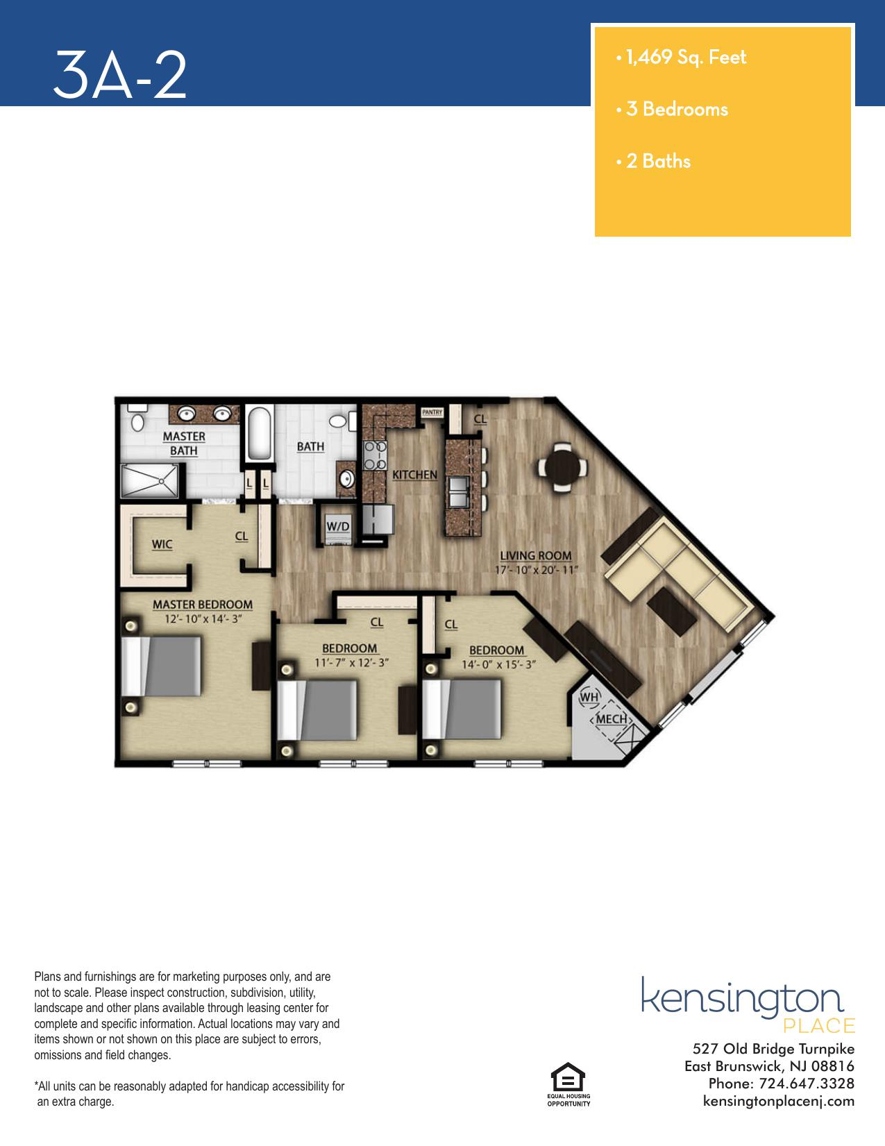 Kensington Place Apartment Floor Plan 3A2