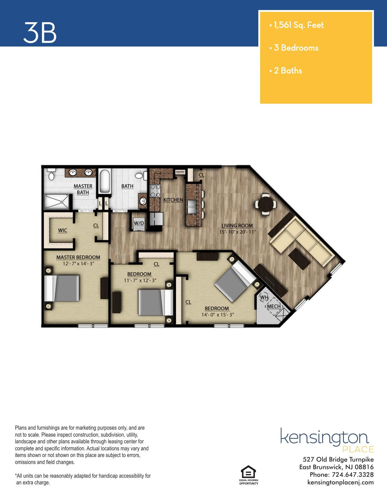 Kensington Place Apartment Floor Plan 3B